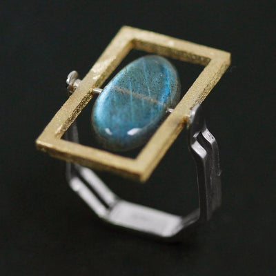 Natural Labradorite Rotatable Stone 925 Sterling Silver Handmade Ring