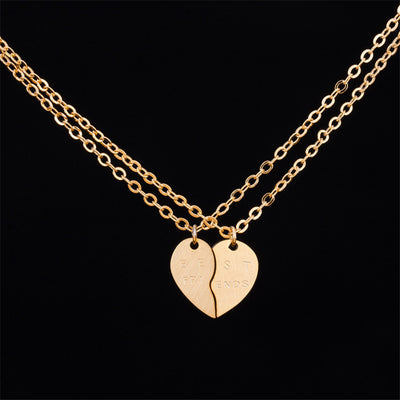 Boho Couples & Significant Other Separating Double Heart Choker Necklaces