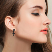 Stainless Steel Hip Hop Punk Dangle Cross Earrings
