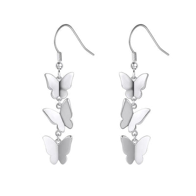 Sterling Silver Butterfly Dangle Drop Earrings