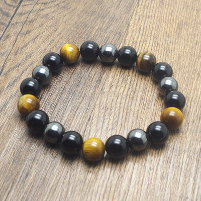 Women's Tiger Eye Hematite & Black Obsidian Gemstone Handmade Bracelet