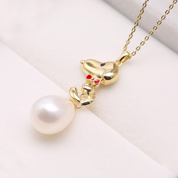 White Freshwater Pearl Sterling Silver Cute Puppy Necklace