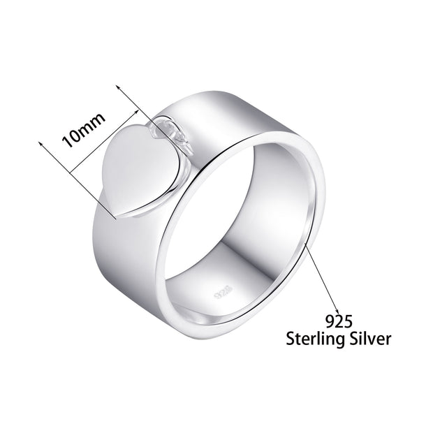 Classic 925 Sterling Silver Heart Charm Ring