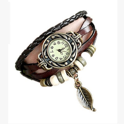 Vintage Multi-Layer Punk Bohemian Leaf Charm Braided Bracelet Watch