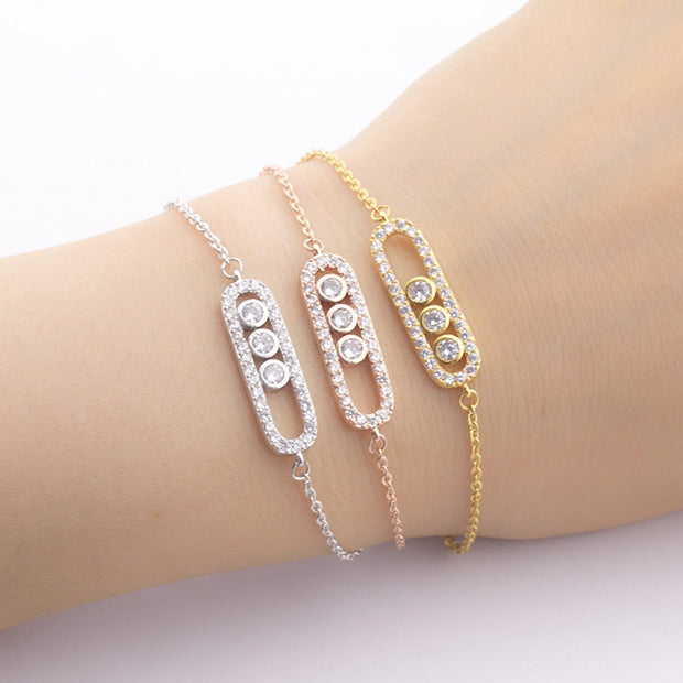 Quirky One Or Three Dot Oval Crystal Charm Bracelet