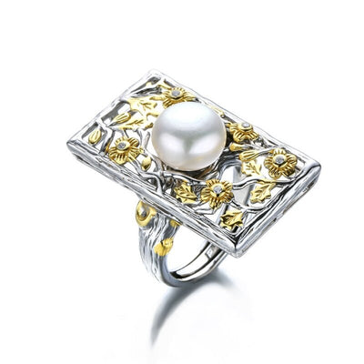 handmade Baroque Pearl & Flowers 925 sterling silver Ring