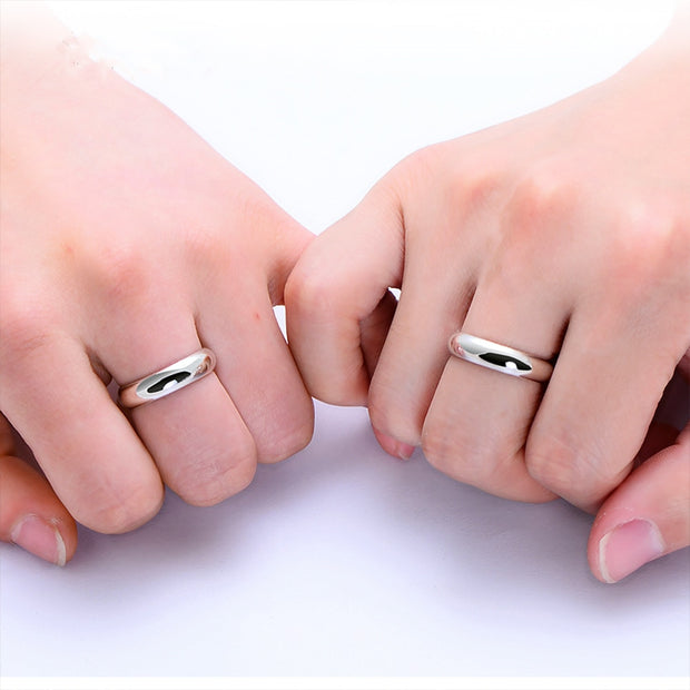 Simple Classic Couples Solid 925 Sterling Silver Love Ring