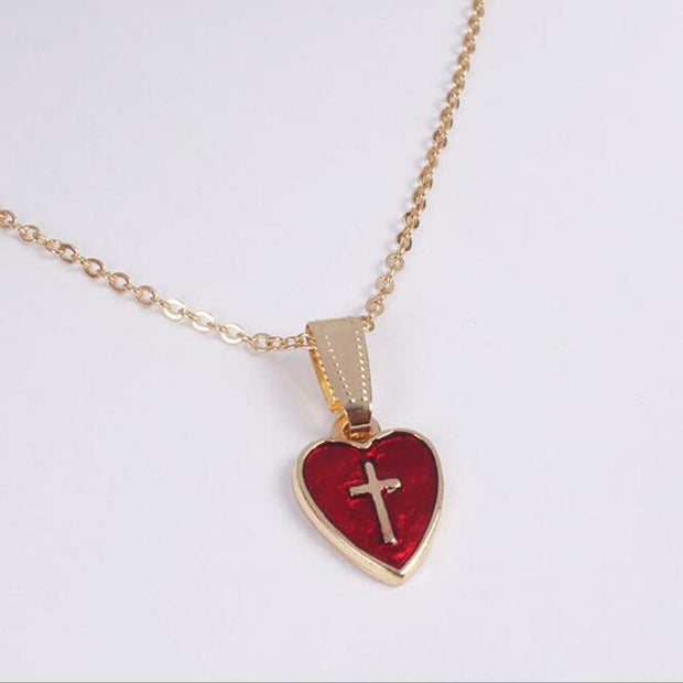 Red Heart Cross Signet Necklace & Pendant