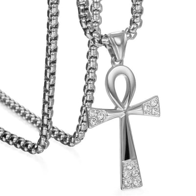 Stainless Steel Ankh Egyptian Life Cross Pendant Necklaces