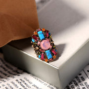 Colorful Rainbow Large Flower Statement Ring