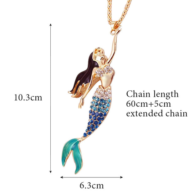 Mermaid Designed Purple Blue Or Red Rhinestone Long Necklace