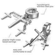 Retro 3 Cross Dangle Fashion Stainless Steel Earrings