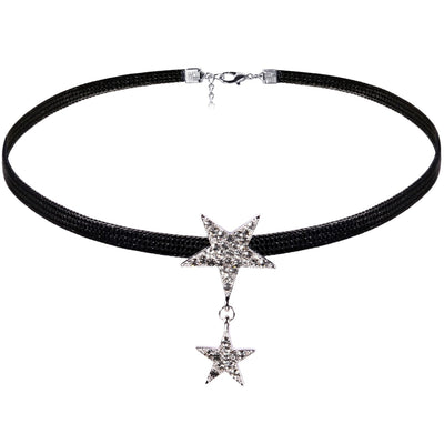 Black Leather Charm Choker Necklace With Crystal Accented David's Star