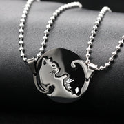 Cat Style Yin & Yang Matching Couples Or Significant Other Necklace & Pendant
