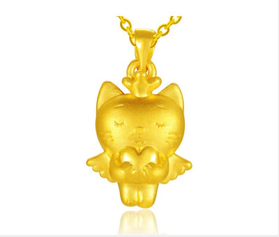 999 24K Yellow Gold Love Angel Cat Pendant 1.97g