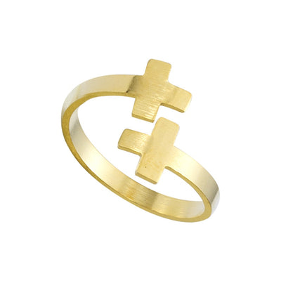 Double Cross Ring Stainless Steel Adjustable Rings