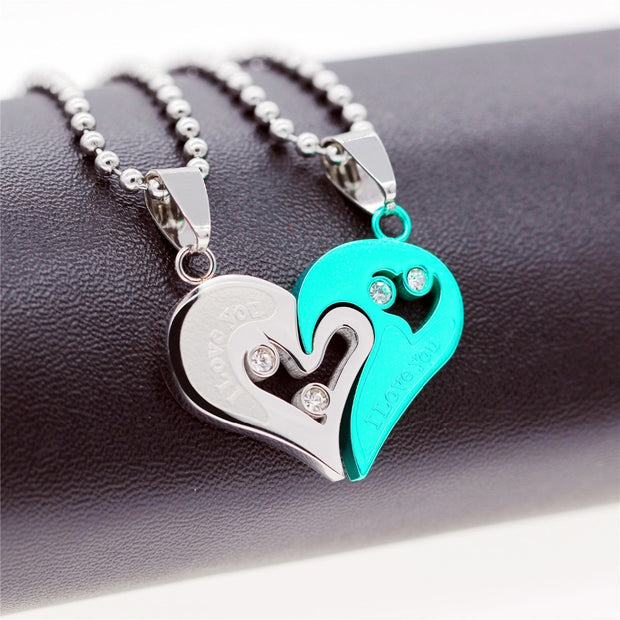 Heart Shaped Yin & Yang Matching Couples Or Significant Other Necklace & Pendant