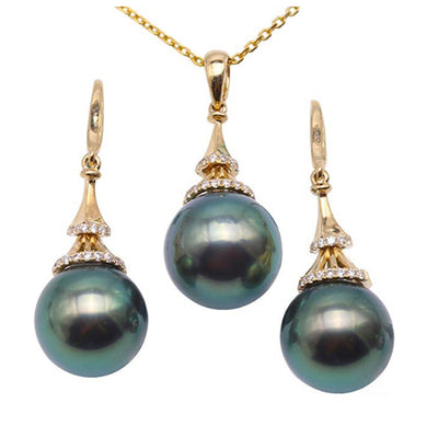 Peacock Green Tahitian Pearl 18K Gold 10.5mm Necklace & Earring Set