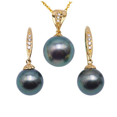 Peacock Green Tahitian Pearl 18K Gold 9-10.5mm Necklace & Earring Set