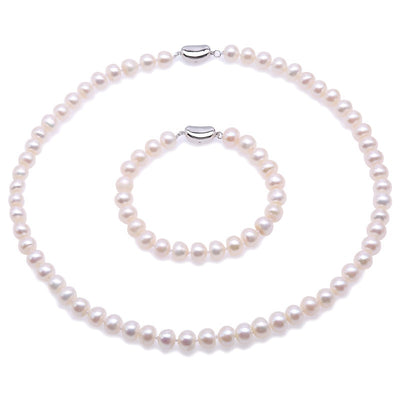 8-9mm White Round Freshwater Pearl Necklace and Bracelet Set