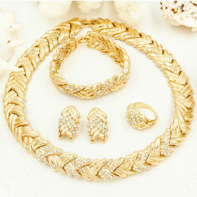 Elegant Dubai & Nigerian African Style Bridal Fashion Jewelry 4 Piece Sets