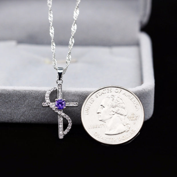 White Or Purple Cubic Zirconia Infinity Cross Pendant Necklace