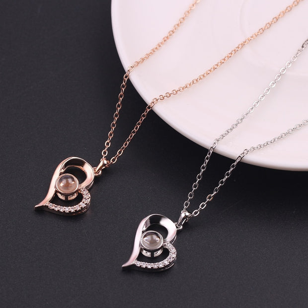"Heart Shaped 100 languages ""I Love You"" Projection Pendant & Necklace"