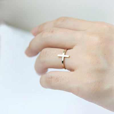 Horizontal Minimalist Gold Or Rose Gold Colored Prayer Cross Ring