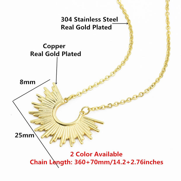 Sunburst Pendant Choker Bohemian Stainless Steel Necklaces