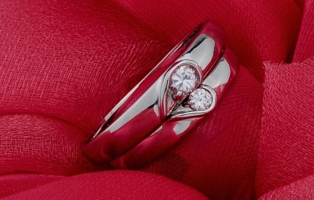 Heart Shaped Matching Couples Or Significant Other Detachable Rings