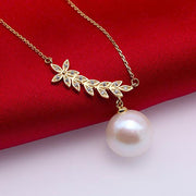 "12mm White Freshwater Cultured Plant Leaf Pearl 18"" Necklace"
