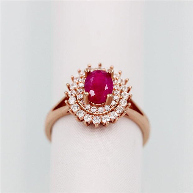 Natural Ruby Red Sterling Silver Princess Ring
