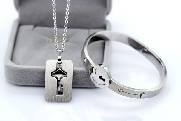 Matching Lock and Key Couples Or Significant Other Necklace & Heart Bracelet