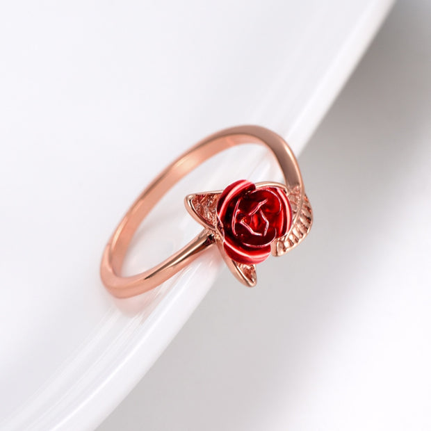 Gorgeous Red Rose Garden Flower Re-sizable Open Finger Ring