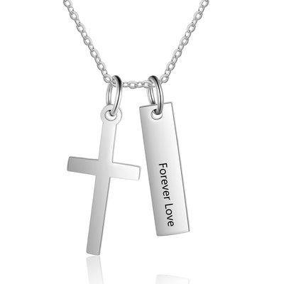 Custom Personalized Cross Pendant Necklace & Vertical Word Bar