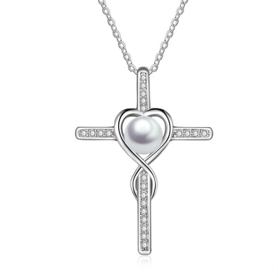 Sterling Silver Infinity Heart Pearl Pendant Necklace Fashion Jewelry