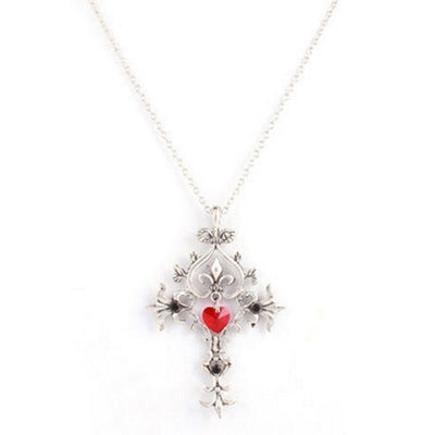 Gothic Style Punk Retro Heart & Cross Pendant Necklace