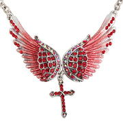 Crystal Guardian Angel Wings Punk Biker Cross Choker Necklace