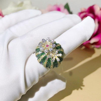 Luxury Rotatable Colorful Spinning Flower Ring