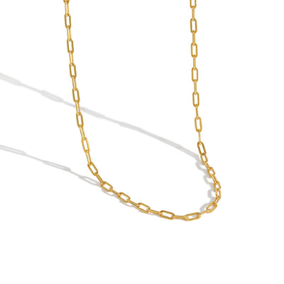 rolo chain link 18k gold plated sterling silver necklace