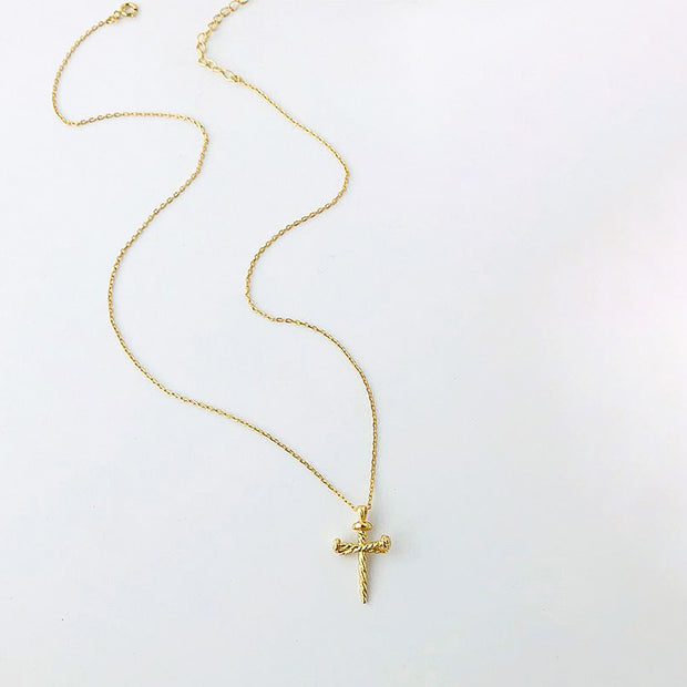 Rustic Twisted Nails Cross 18K Yellow Gold Women's Dainty Necklace