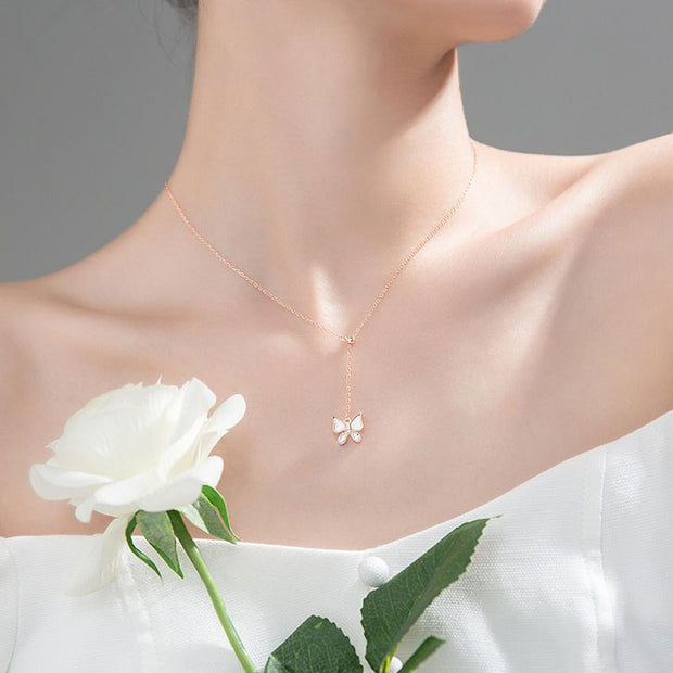 butterfly lariat 18k gold plated 925 sterling silver rose gold plated cubic zirconia necklace