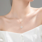 butterfly lariat 925 sterling silver rhodium plated cubic zirconia necklace