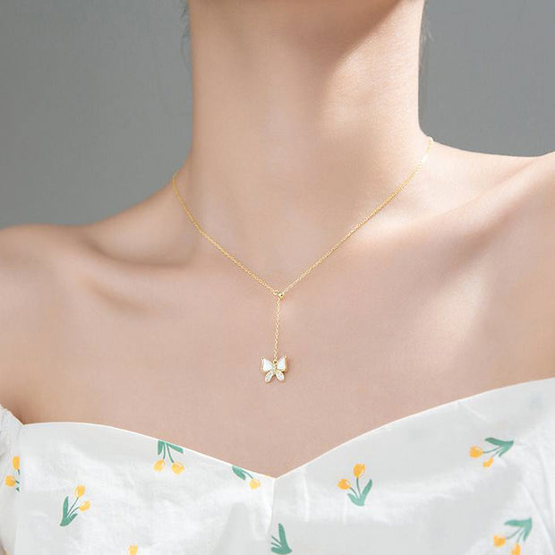 butterfly lariat 18k yellow gold plated 925 sterling silver rhodium rose gold plated cubic zirconia necklace