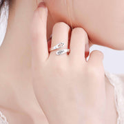 woman wearing christian faith sterling silver cross ring