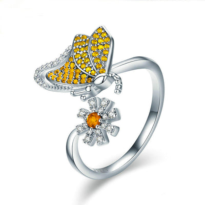 yellow butterfly with flower 925 sterling silver rhodum plated cubic zirconia ring