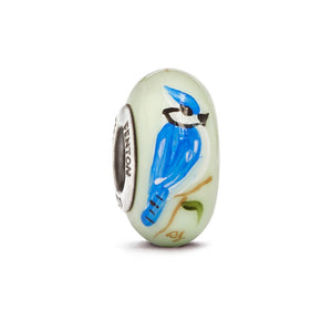 """Blue Jays Rule"" Hand Decorated Glass Bead - Fenton Glass Jewelry"