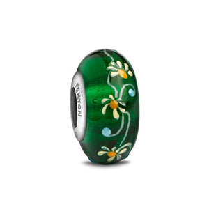 """Crown of Clover"" Hand Decorated Glass Bead - Fenton Glass Jewelry"