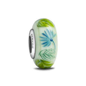 """A Leafy Night"" Hand Decorated Glass Bead - Fenton Glass Jewelry"