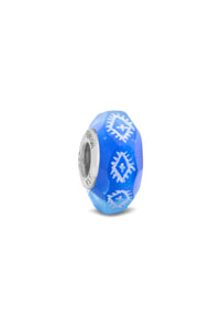 """Cobalt Ikat"" Glass Crafted and Hand Painted Bead"